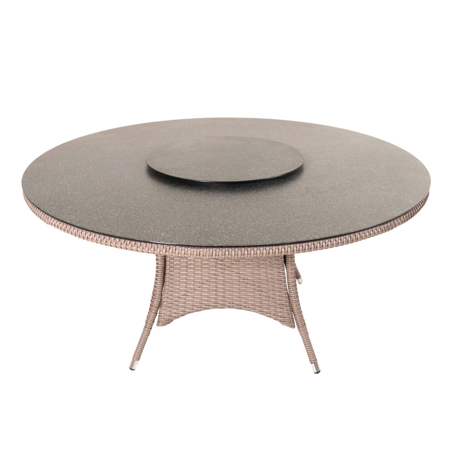 Kansas rundt spisebord Ø150 cm med spraystone glas bordplade i natur 21249