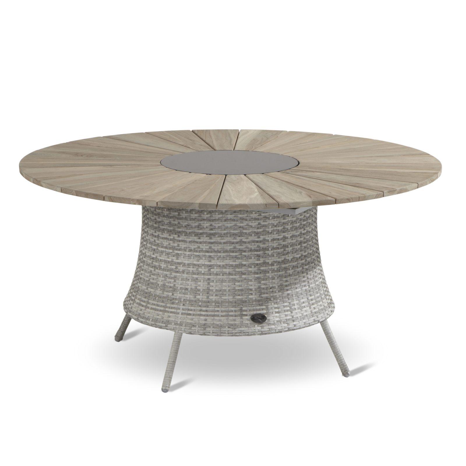 Provence havebord polyrattan flet og teak bordplade 30139, 30132