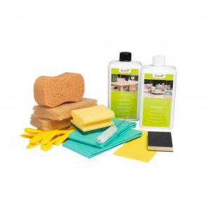 Teak vedlikeholdssett med Cleaner, Protector og tilbehør